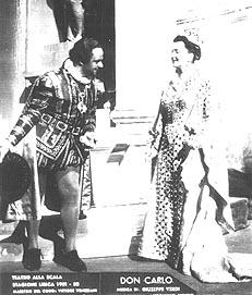 Paolo Silveri (Rodrigo di Posa), Dragica Martinis (Elisabetta di Valois), Giuseppe Verdi, Don Carlo: Teatro alla Scala, Milano, 1952. (premijera)