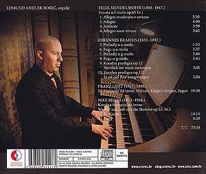CD klasika: Edmund Andler-Borić, orgulje, Mendelssohn – Brahms – Liszt – Reger, Croatia Records, 2009.