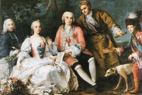 Pietro Metastasio, pjesnik, Teresa Castellini, pjevačica, Farinelli, pjevač, i austrijski nadvojvoda kao paž
