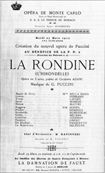 Programska cedulja s praizvedbe Lastavice u Monte Carlu 27. ožujka 1917.