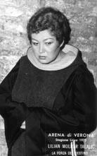 Ljiljana Molnar kao Leonora u operi Moc sudbine, Arena di Verona, 1975.