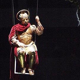 Ljubomir Puškarić (Apolon), Krešimir Špicer (Orfej); Hrvatsko narodno kazalište u Zagrebu; Claudio Monteverdi, Orfej, dir. Hervé Niquet, red. Ozren Prohić, 2008.