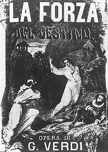 Plakat za petrogradsku praizvedbu Moći sudbine 1862.