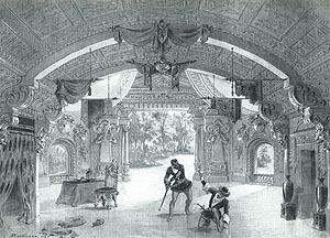 Praizvedba u Scali 1887.: Skica Bonamorea za scenografiju,