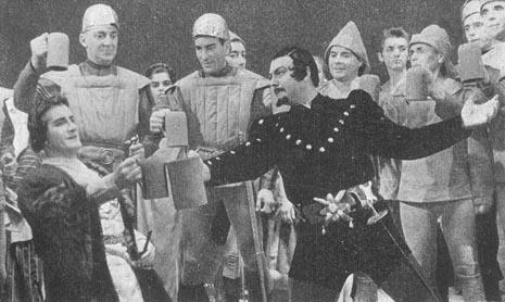 Otello u Splitu, premijera 1955. Ante Jelaska (Cassio) i Ante Marušić (Jago) uz zbor Splitske opere