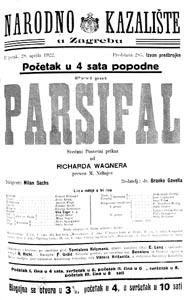 Program prve izvedbe Parsifala u Hrvatskoj 28. travnja 1922.