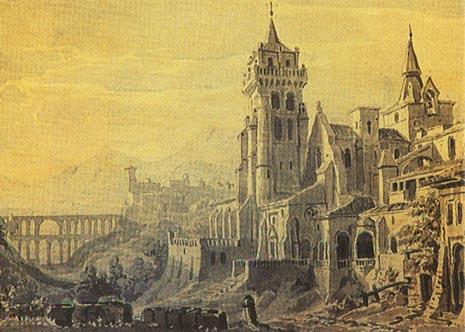 Scenografsko rješenje za praizvedbu opere Moć sudbine u Petrogradu 1862.