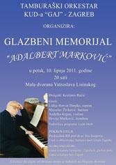 Glazbeni memorijal Adalbert Marković - plakat
