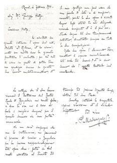 Autograf pisma Pietra Mascagnija upućenog Josipu Hatzeu 1911. uoči premijere Povratka u Zagrebu