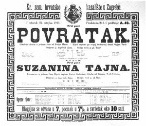 programska cedulja s praizvedbe opere Povratak 1911.
