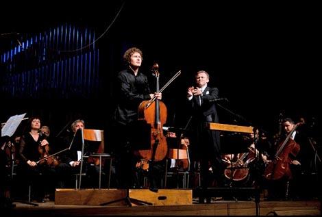violončelist Kiril Rodin i dirigent Mihail Sinkevič na koncertu Zagrebačke filharmonije