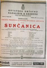 kazališna cedulja s praizvedbe Sunčanice